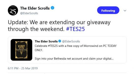 Bethesda does right and extends Morrowind giveaway through the weekend