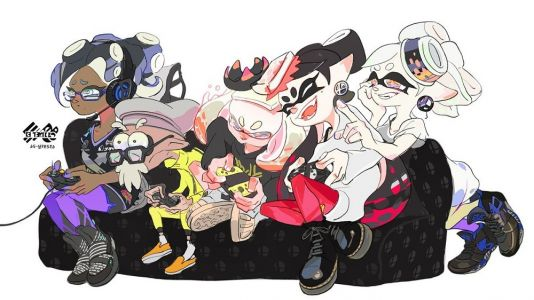 Esports Marina and Salty Pearl advertise this weekend's Smash Bros. themed splatfest