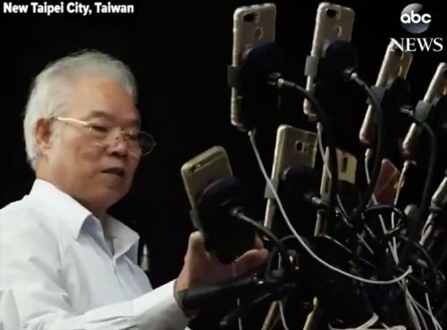 This Taiwanese grandpa plays Pokémon GO with 15 phones mounted to his bike