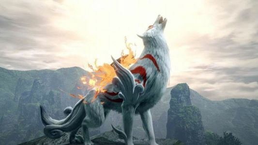 Monster Hunter Rise collaborates with Okami to bring an Amaterasu Palamute skin to the game