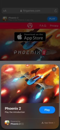 """Apple's New """"App Clips"""" Feature in iOS 14 Cleverly Used to Deliver a Frictionless Demo of 'Phoenix 2′ Shoot 'em Up Game"""