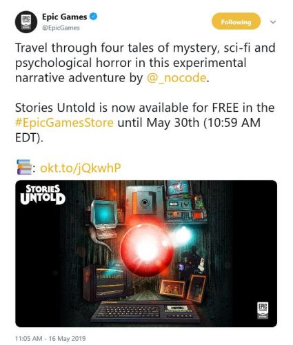 New Epic Games Store freebie is Stories Untold