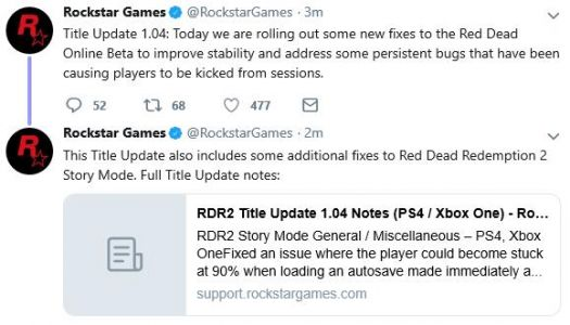 Red Dead Redemption 2 and Red Dead Online getting update 1.04 today