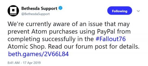 Bethesda has a Fallout 76 PayPal issue on its hands