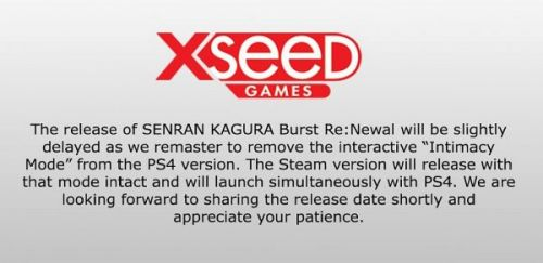 Intimacy Mode removed from PS4 version of Senran Kagura Burst Re:Newal