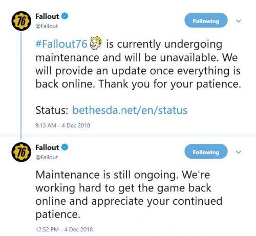 UPDATED: Fallout 76 Maintenance appears to be taking longer than expected