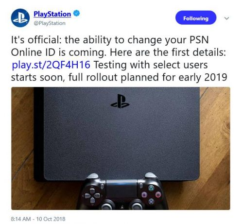 Ability to change PSN ID confirmed
