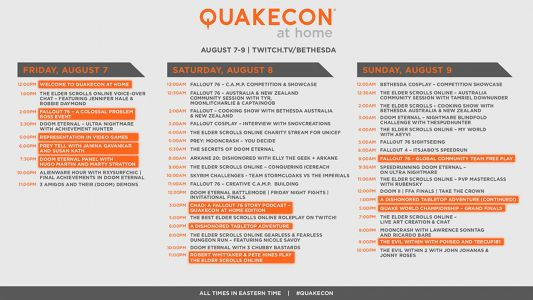 QuakeCon at Home schedule published, kicks off August 7