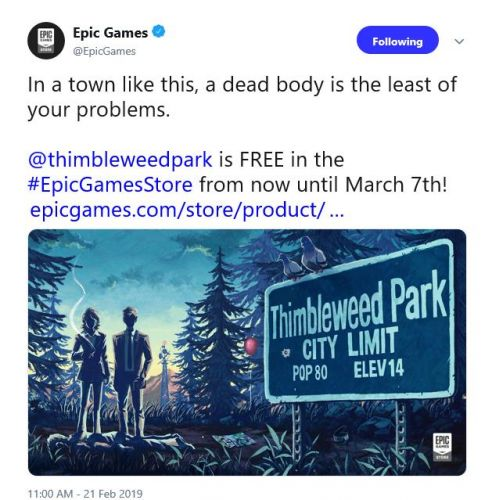 Epic Game Store freebie switched up to Thimbleweed Park