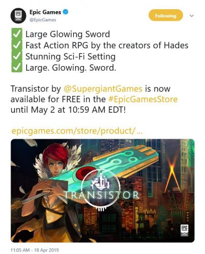 New Epic Game Store free title is Transistor