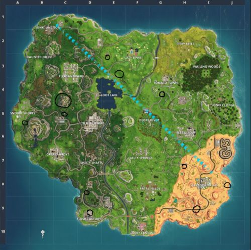 Fortnite: Flaming Hoop locations - Where to jump through Flaming Hoops with a shopping cart or ATK